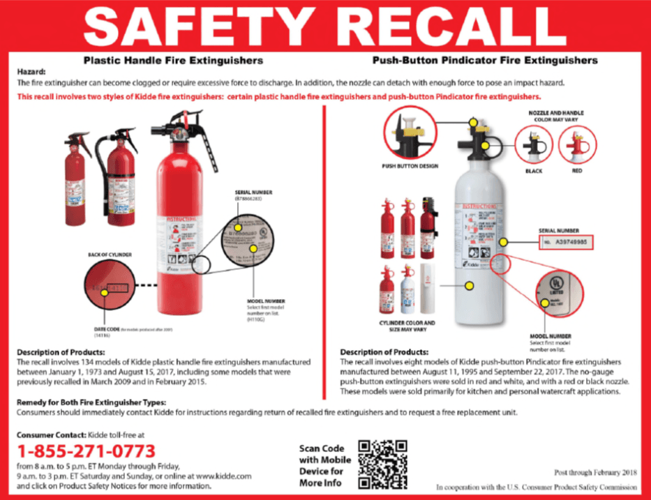 Fire Extinguisher Recall Notice