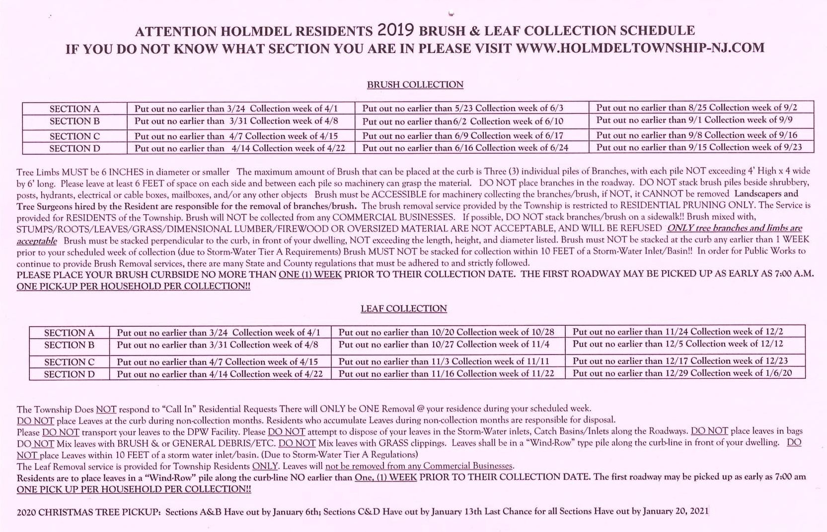 2019 Brush-Leaf Collection Schedule